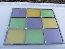 Vintage Stained Glass Window Panel Architectural Colourful Squares Green CRACKED