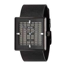 "EOS New York ""Petra Black"" Cuarzo Malla de Acero IP Negro Swarovski Mujer Reloj"