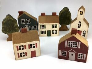 Vintage Rustic Painted Wooden Block Village Houses - Primitive