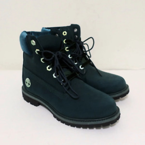 Timberland 6 Inch Premium Velvet Accent Boots Dark Green Suede Size 7 NEW