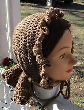 Civil War Dress Victorian Accessories~Handmade Lady'S Tan Faux Wool Bonnet~Hood