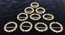 10 PCS 18mm GOLD CIRCLE DIAMANTE RHINESTONE CRYSTAL BUCKLE RIBBON SLIDER DIY