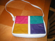 White Colored Blocks pocketbook purse all leather over shoulder EUC