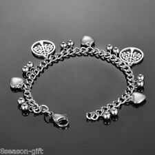 1PC Womens Stainless Steel Cross Bracelet Fit Life Tree Pendant 20cm