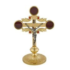 """10 3/4"""" Brass Reliquary Ornate Crucifix with 3 Compartments for Relics"""