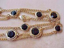 Vintage Necklace-Swarovski-Element Black Crystal Lentils Open Bezel Gold P Chain