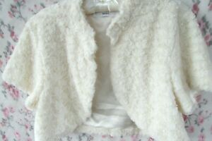 BNWOT IVORY Rosette Fur BRIDAL Jacket Shrug Bolero Size L 12/14 John Lewis £59
