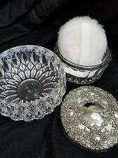Towle PE double Glass Powder Puff lined Jar Box w/Silver Plated Tone Mirror Lid