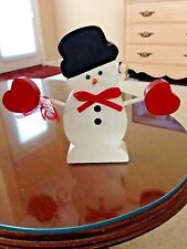 Vintage.Wooden Christmas Snowman with red Heart mittens and Black Top Hat