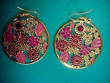 Ohrringe rund Blätter + Blüten in gold und lila Boho Retro Vintage Style 4 cm Ø