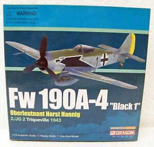 1943 WWII German Fokke Wulf Fokker FW 190A-4 Black 1 Trequeville 1/72 Dragon MB
