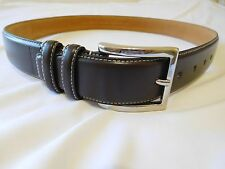Cole Haan Mens Belt Brown Feather Edge Smooth Panel Stiched 42 New Leather Stich