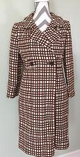 Vintage Joseph Horne Womens Brown White Checker Plaid Striped Trench Coat Jacket