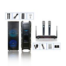 STARAUDIO 5000W Dual 15 Inch Active Powered PA DJ Speaker System 2CH Microphone