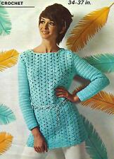 "Ladies Tunic/Long Sweater Crochet Pattern 34-37"" Double Knitting  Retro 116"