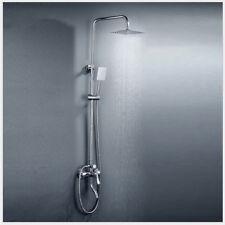 Chrome Bathroom Rainfall Shower Head Faucet Set &Hand Spray Mixer Tap Wall Mount