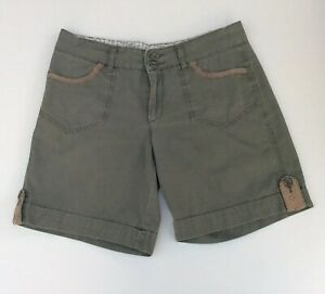 Target Womens Khaki Green Shorts Size 10 Broderie Lace Trim Pockets Casual