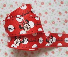 1M x Mickey Minnie Mouse GROSGRAIN RIBBON Craft Hair Bow Cake 25MM