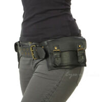 Black Brown Leather Belt Bum Waist Hip Bag Pouch Fanny Pack Utility Pocket Trave