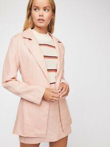 Backstage X Free People Women's Power Play Pink Linen Blazer NWT