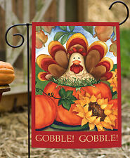 Toland Autumn Turkey 12.5 x 18 Colorful Fall Autumn Thanksgiving Garden Flag