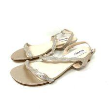Dyeables Womens Jasper Slingback Sandals Beige Block Heels Rhinestone 8.5 M New