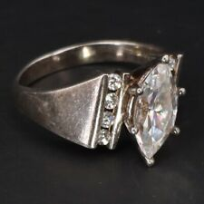 Cocktail Ring Size 7 - 5g Sterling Silver Diamonique Cz Cubic Zirconia Marquise