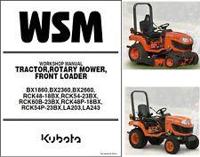 Kubota BX1860 BX2360 BX2660 Compact Tractor / Mower Service Workshop Manual CD