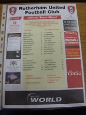08/04/2006 Colour Teamsheet: Rotherham United v Tranmere Rovers [Red Heading]. T