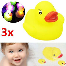 3pcs Cute Newborn Baby Bath Time Toy Color Changing Yellow Duck LED Light Gift