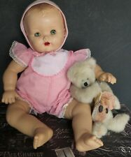 Cute! Vintage? Mystery Baby Doll Blue Sleep Eyes with Lashes Pink Romper Hat Tlc