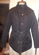 ROYALTY by YMI Womens quilted jacket faux fur leopard lining black SM NO HOOD