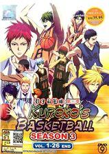 DVD Japan Anime Kuroko's Basketball Complete Season 3 (Vol 1-26 End) English Sub
