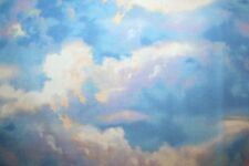 """CLOUDY BLUE SKY FABRIC """"WIND & WAVES"""" OCEAN SAIL & LIGHTHOUSE FABRIC COLLECTION"""