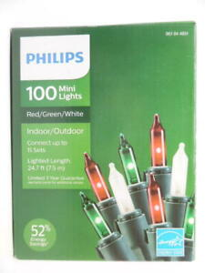 Philips 100ct Mini Lights Red/Green/White Indoor/Outdoor 24.7ft Lighted Length
