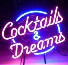 Cocktails & Dreams Neon Glass Light Sign UK STOCK Blue/Purple 14 Day Delivery