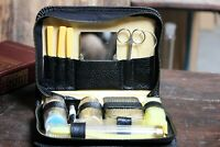 Vintage Shaving Set Travel Shaving Kit Metal Razor with Black Leather Case