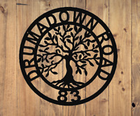 Tree Of Life Metal Wall Art Sign Personalised Address House Name Family Name