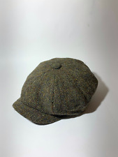 John Rocha Harris Tweed Newsboy Flat Cap Hat  Herringbone Wool Size S/M