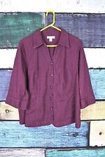 CJ Banks Purple Floral Embroidered Stretch Cotton Blend Blouse Top Shirt Plus 2X