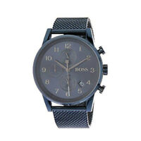 100% New Hugo Boss 1513538 Blue Dial Mesh Strap Chronograph Quartz Men's Watch
