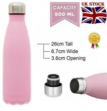 AEX 500ml Stainless Steel Water Bottle Leakproof Vacuum Insulate Pink Shiny