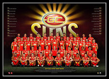 2017 AFL Official Gold Coast Suns Team Print Framed Tom Lynch Gary Ablett Jnr.