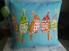 """NWT OUTDOOR~INDOOR TOSS PILLOW 2 SIDED 5 BIRDS ON BARBED WIRE FADE RESISTANT 16"""""""