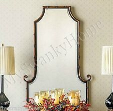 "NEIMAN MARCUS Empress 42"" Asian BAMBOO ARCH Curl Wall Mirror Vanity Scroll Iron"