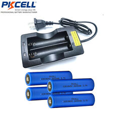 4pcs 18650 Battery Button Top Rechargeable Li-ion 2600mAh and Dual 18650 Charger