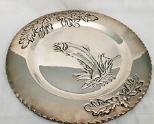 """Rare Salmon Platter Seasons of Cannon Falls Silver Plate Embossed 12"""""""