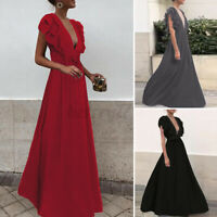 ZANZEA Womens Summer Sleeveless V Neck Cocktail Party Ball Gown Long Maxi Dress
