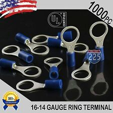"""1000 PACK 16-14 Gauge 3/8"""" Stud Insulated Vinyl Ring Terminals Tin Copper Core"""