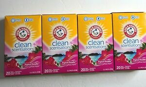 4 Arm & Hammer Clean Scentsations Tropical Paradise Fabric Softener Sheets 20 Ct